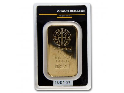 50 gram gold bar argor heraeus kinebar design in assay 67500 Obv