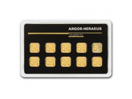 10x 1 gram gold bar argor heraeus in assay 79722 Slab