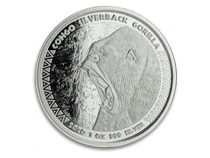 2020 republic of congo 1 oz silver silverback gorilla prooflike 207656 slab