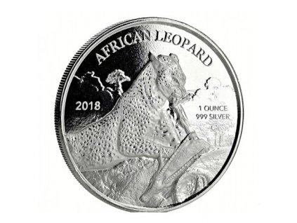 1 oz silver 5 cedis ghana leopard 2018