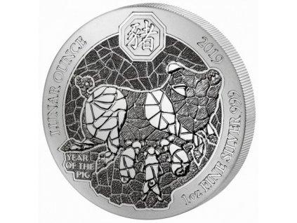 1 oz silver rwanda pig 2019