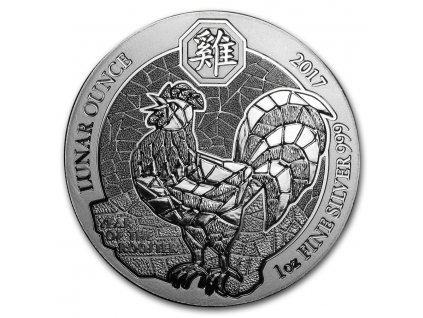 2017 rwanda 1 oz silver lunar year of the rooster bu 114953 Slab
