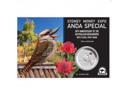 sydney money expo anda special 30th anniversary of australian kookaburra 2020 1oz silver coin with waratah privy mark