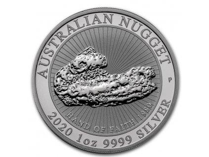 2020 australia 1 oz silver hand of faith nugget bu 208121 obv