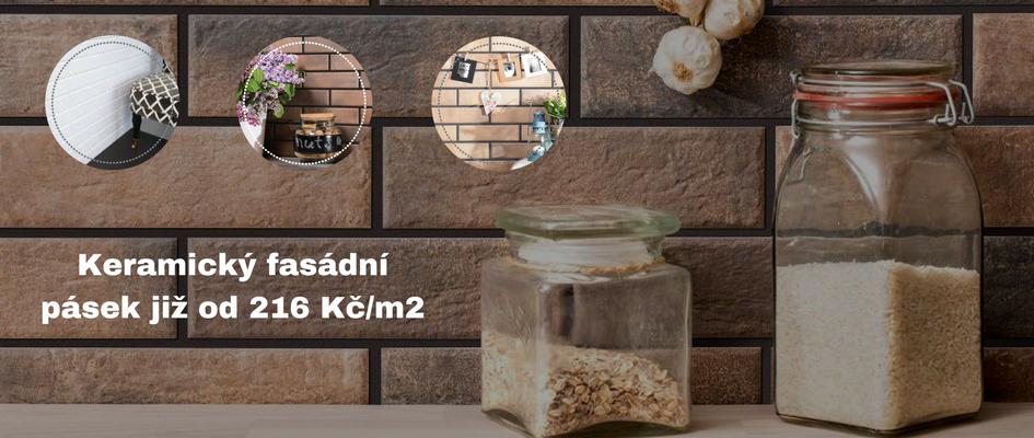 Keramický fasádní pásek již od 216 Kč/m2