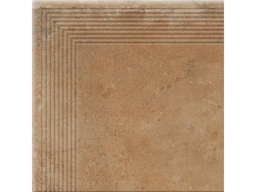 Keramická dlažba Cerrad Piatto Honey schodovka rohová