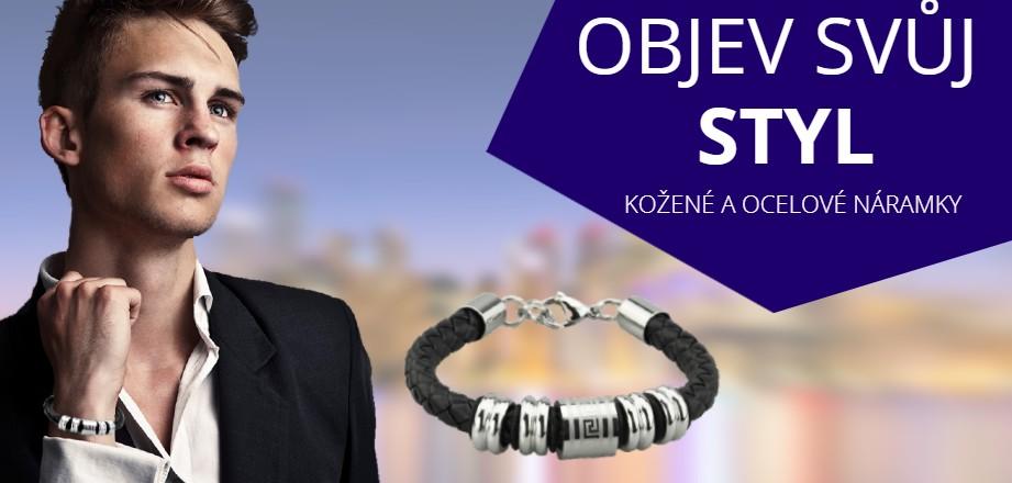 Šperky pro muže | ocelové, stříbrné a kožené náramky