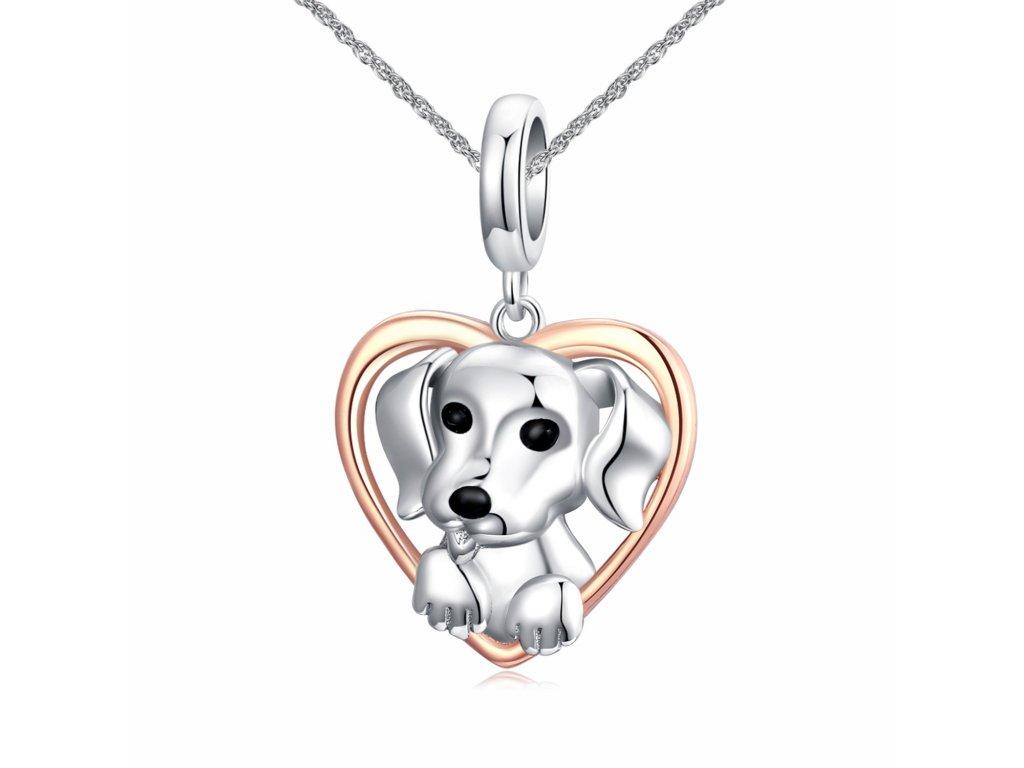 Stříbrný náhrdelník štěně lásky