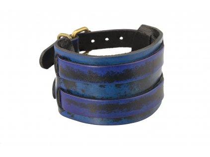 kozeny-naramek-punk-blue-siroky-produkt