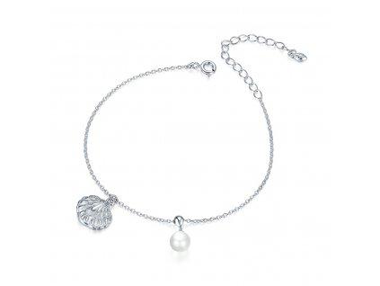 Stříbrný náramek Lastura s Perlou Ag 925/1000
