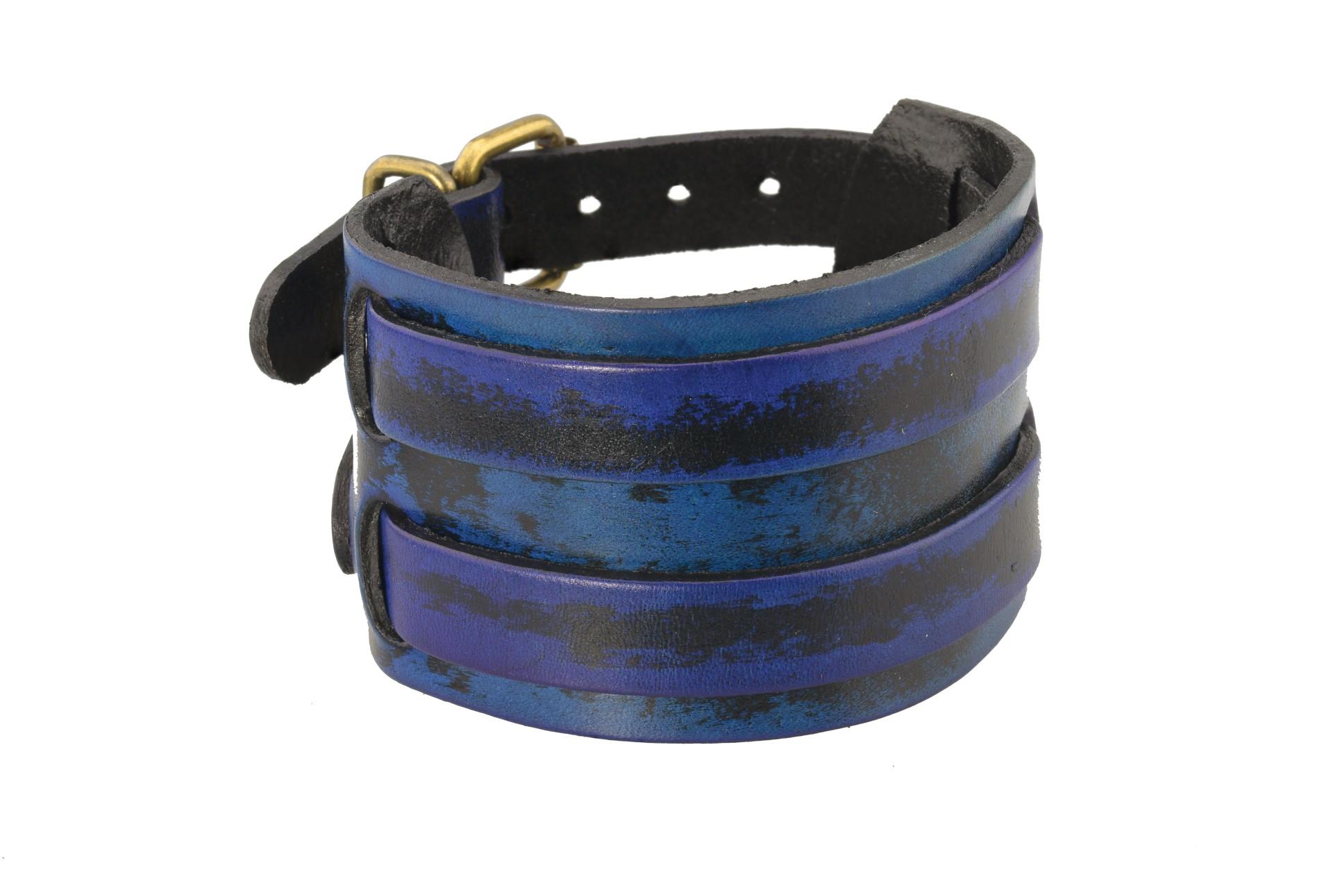 Sam's Artisans Kožený náramek Punk Blue Široký INRM032