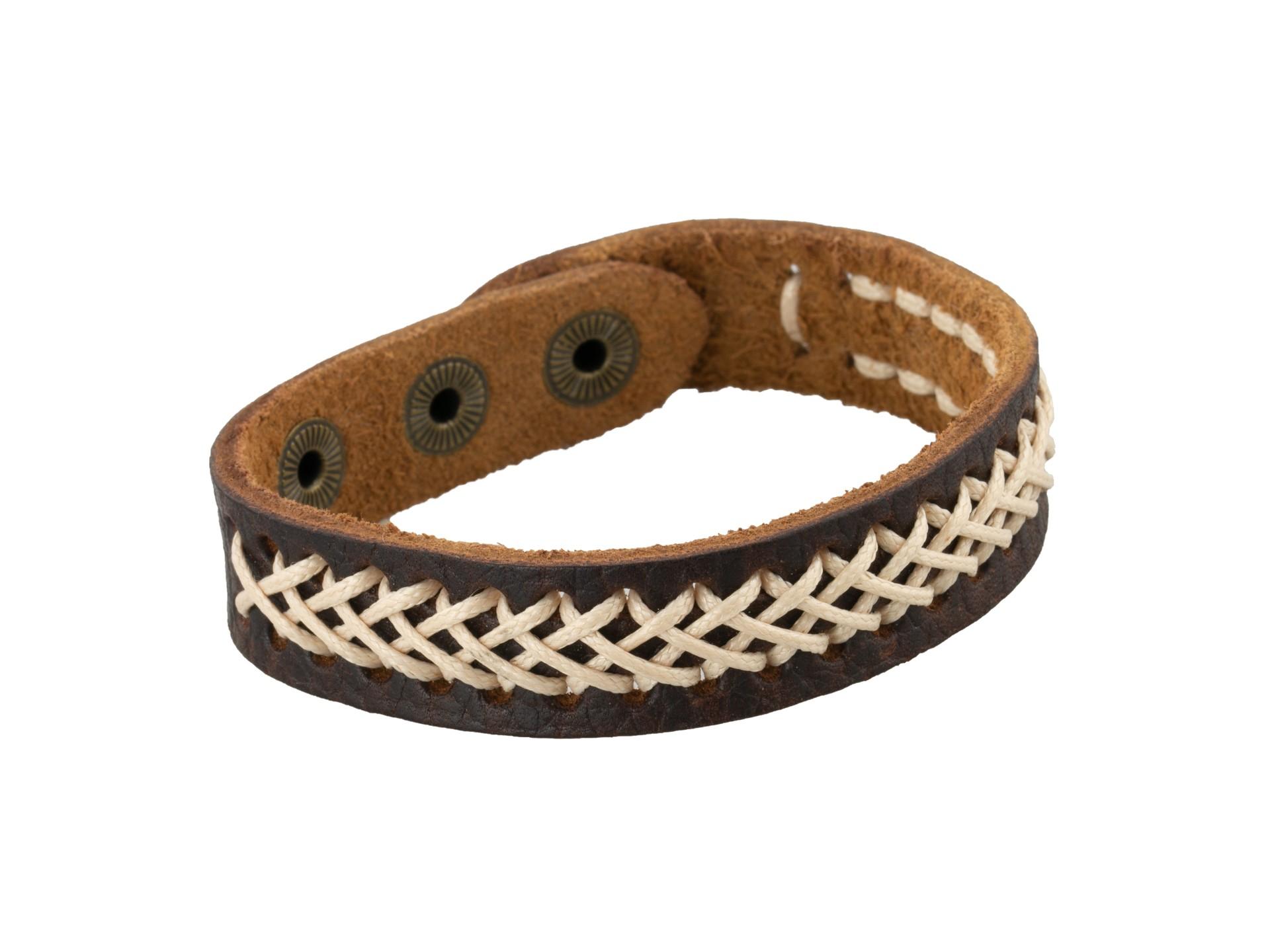 Linda's Jewelry Kožený náramek protkávaný Brown and Bege INR058