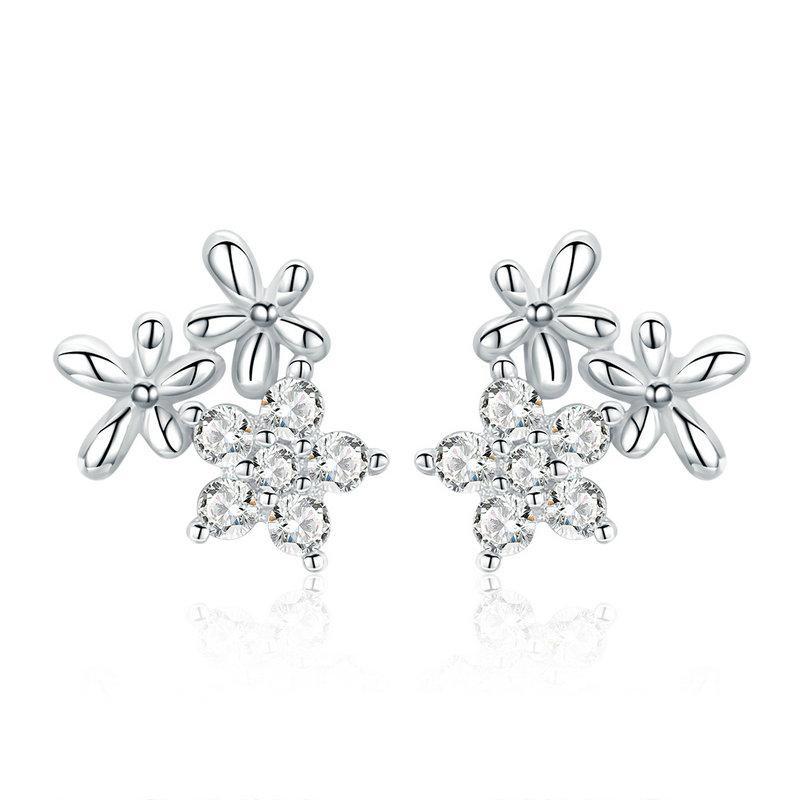 Linda's Jewelry Stříbrné náušnice pecky Zirkonové Květinky Ag 925/1000 IN152
