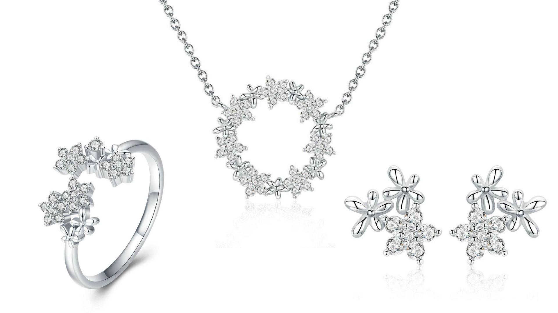 Linda's Jewelry Zvýhodněná sada šperků Zirkonové Květinky Ag 925/1000 IS049