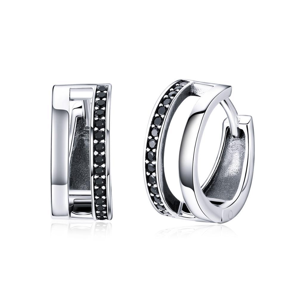 Linda's Jewelry Stříbrné náušnice Kruhy Malé Black Zirkons Line Ag 925/1000 IN160