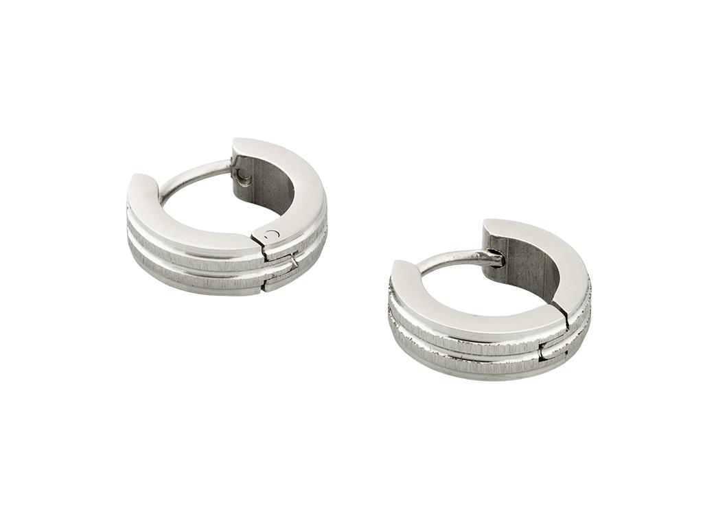 Lindas's Jewelry Náušnice Broušené Matné Linie kruhy malé Chirurgická ocel IN193