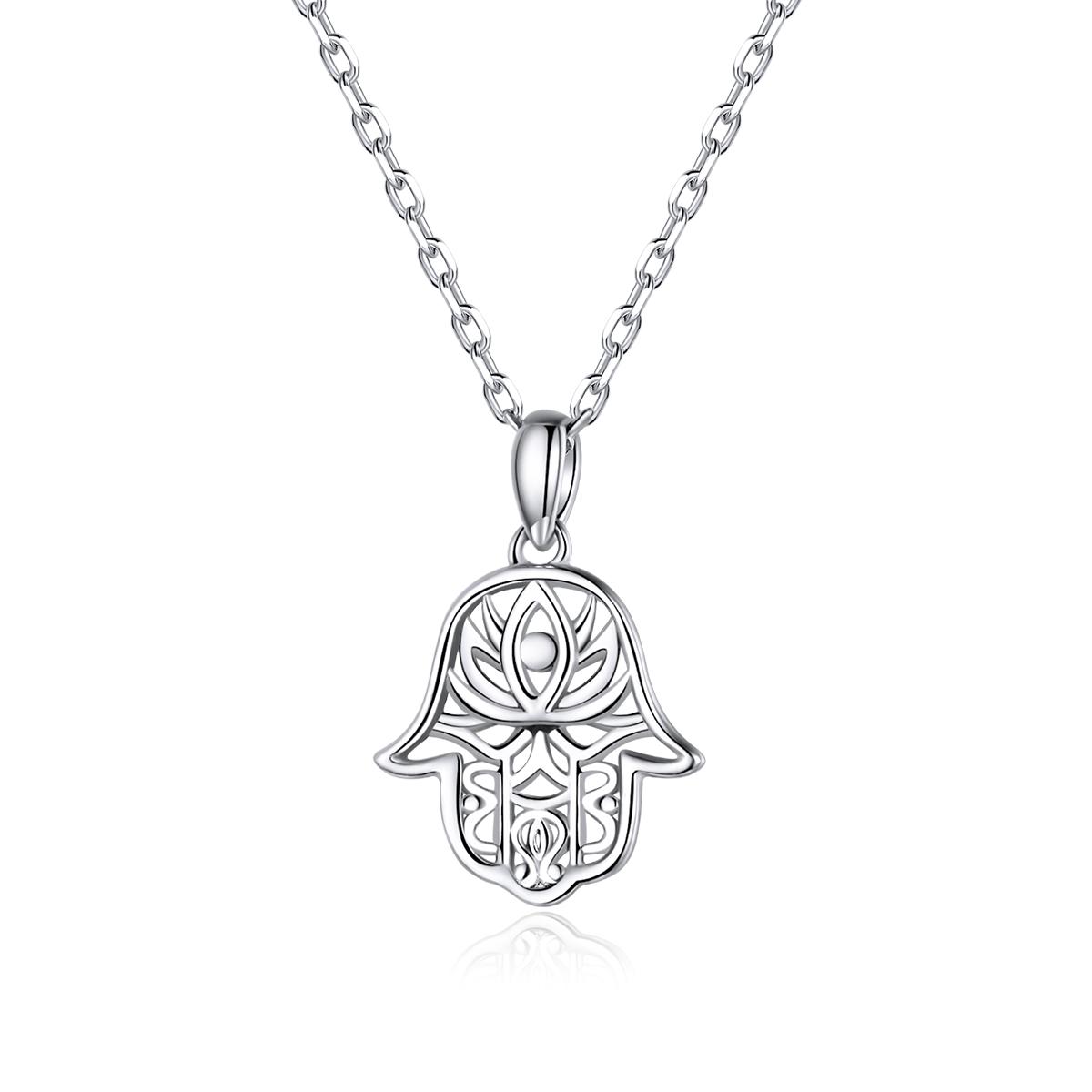 Levně Linda's Jewelry Stříbrný náhrdelník Ruka Fátimy Ag 925/1000 INH118