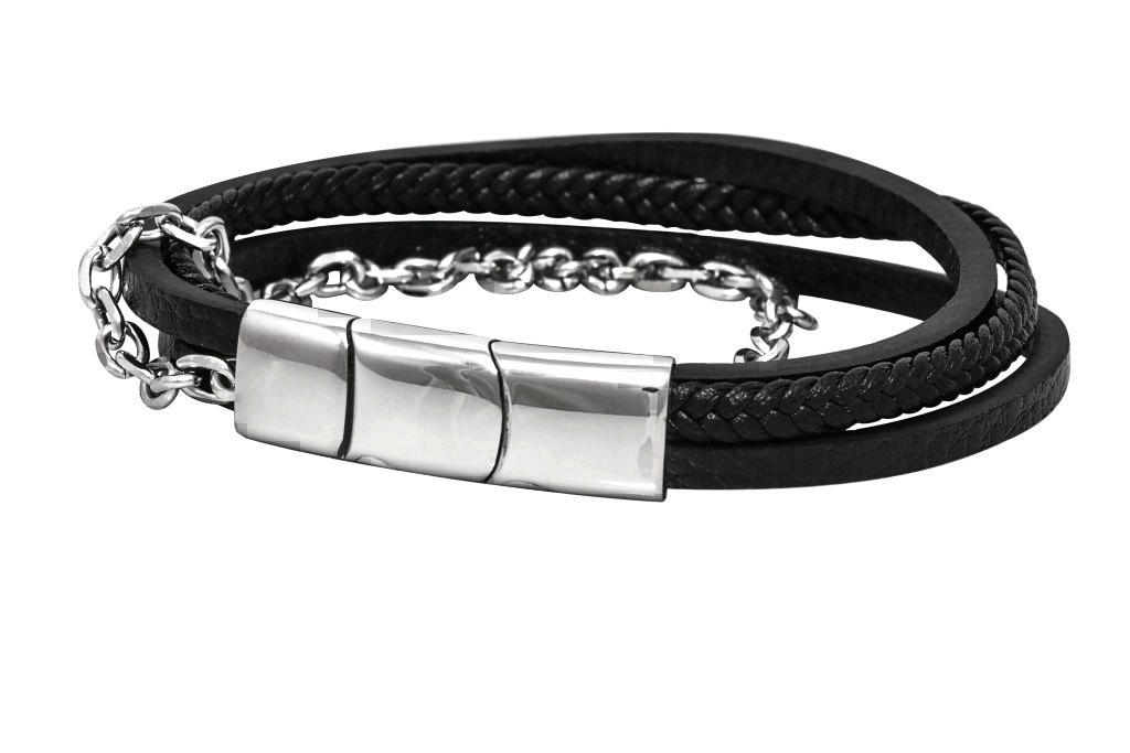 Sam's Artisans Kožený náramek Steel and Leather Chirurgická ocel INRM004