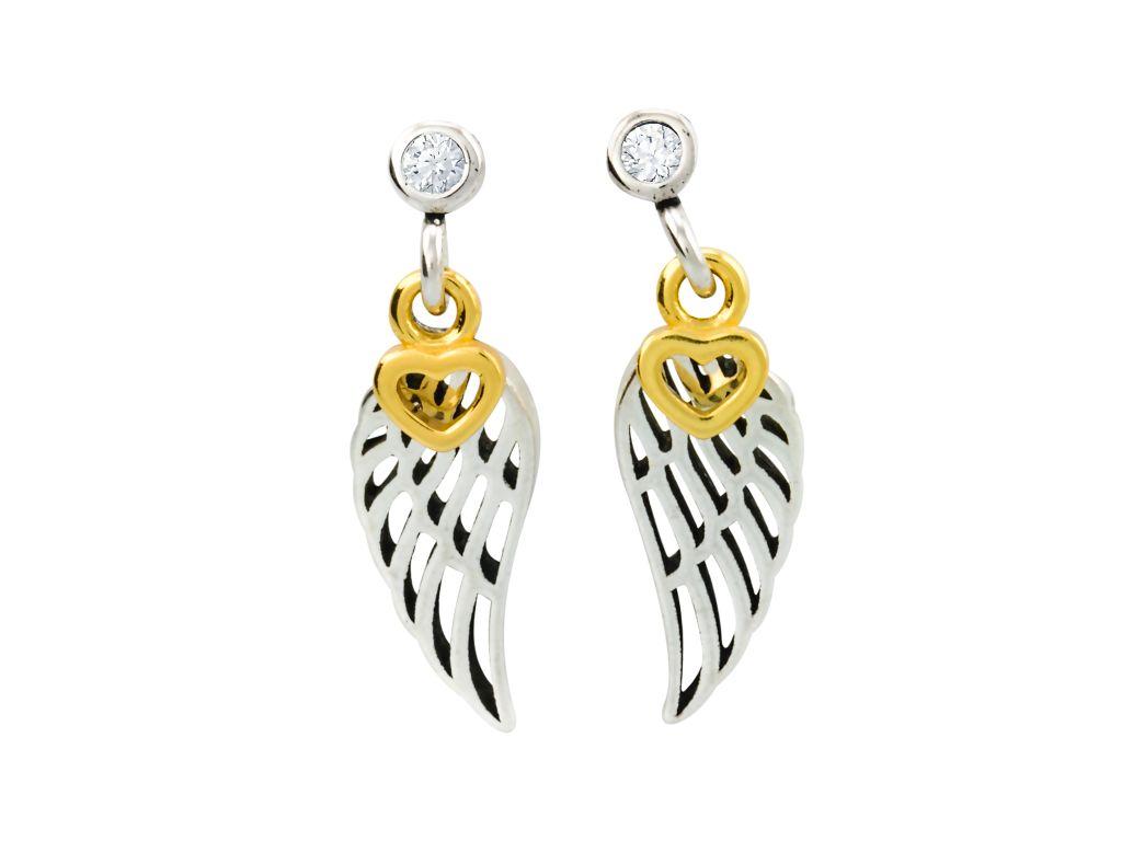 Levně Linda's Jewelry Stříbrné náušnice pecky Angel Wings Love IN055