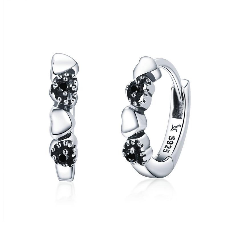 Linda's Jewelry Stříbrné náušnice Kruhy Malé Love Black IN076