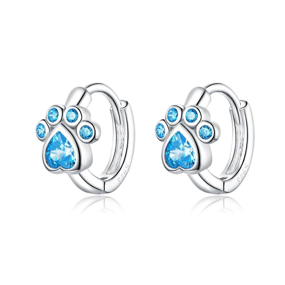 Linda's Jewelry Stříbrné náušnice Kruhy Love Pets Blue IN087