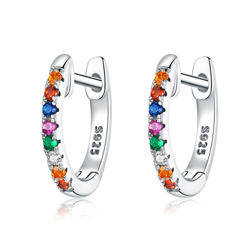 Linda's Jewelry Stříbrné náušnice Kruhy Malé Rainbow Line IN088