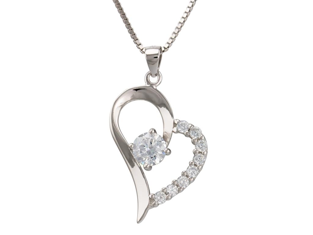 Levně Linda's Jewelry Stříbrný náhrdelník se zirkonem Srdce INH026