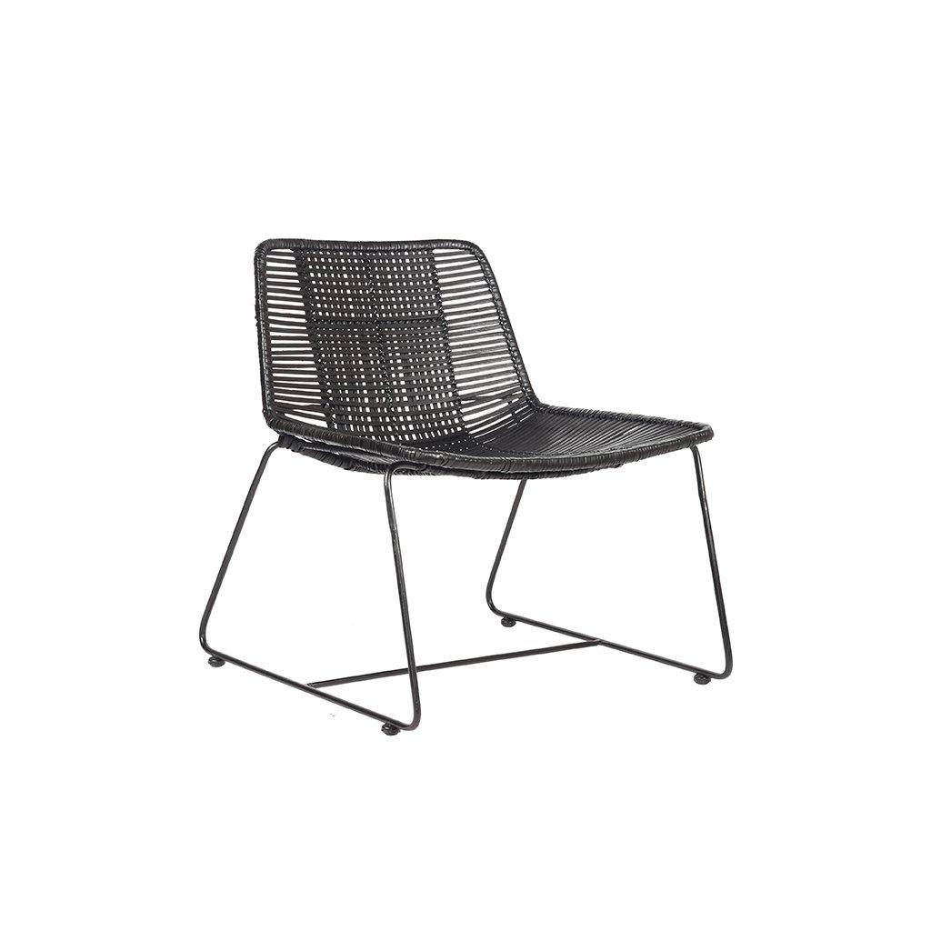 fauteuil rex zwart rotan zwart metaal 61x62x71 cm perspectief
