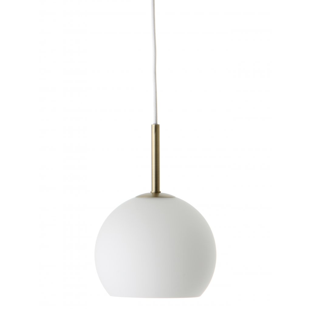 Ball pendant glass 18 cm white matt antique brass 1576