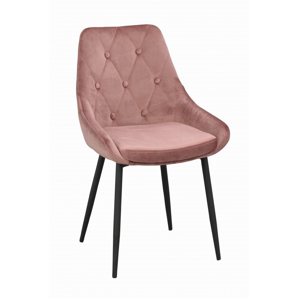 110411 b, Alberton stol, rosa sammet svart R