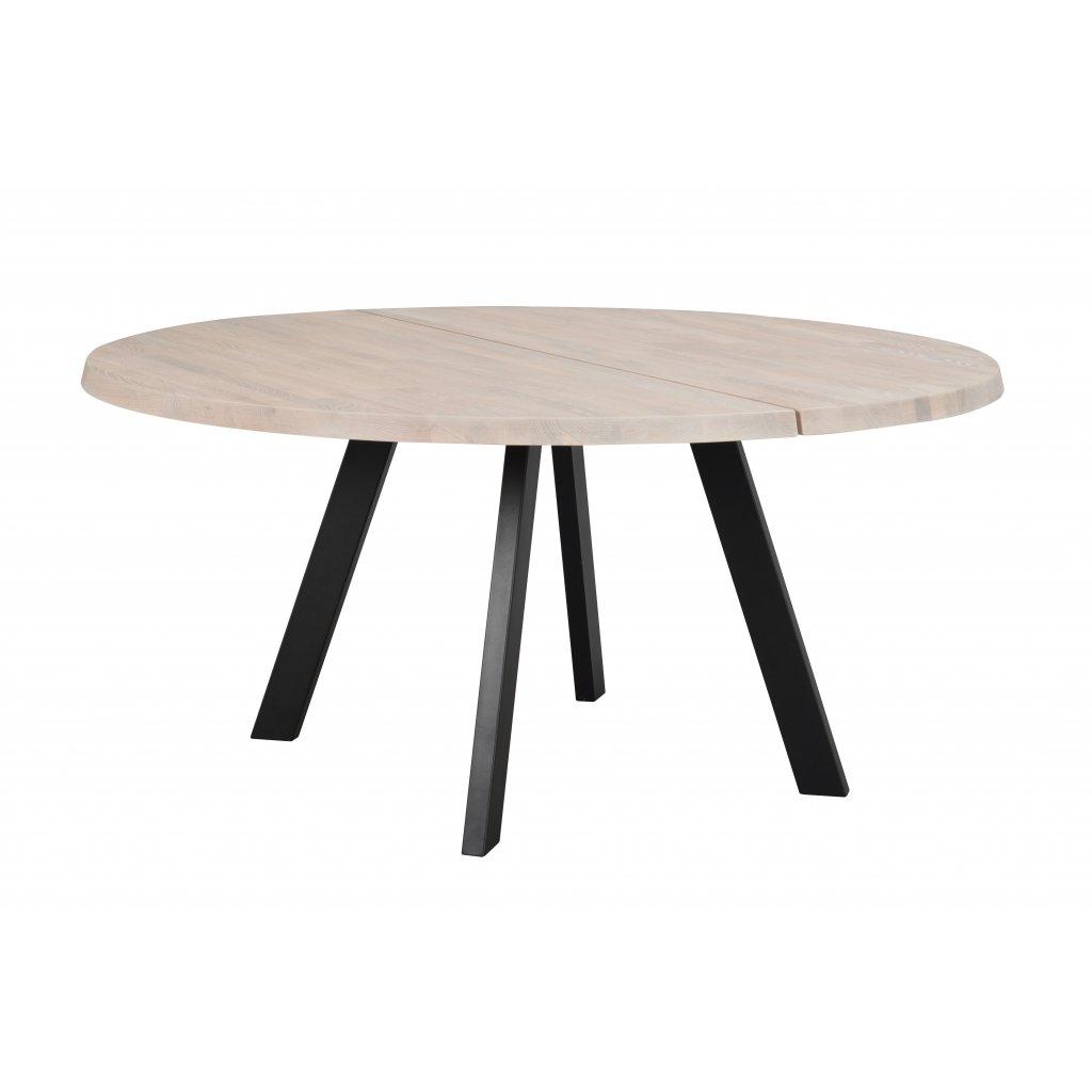 117442 a, Fred matbord runt 160, vitpigm.ek svart R