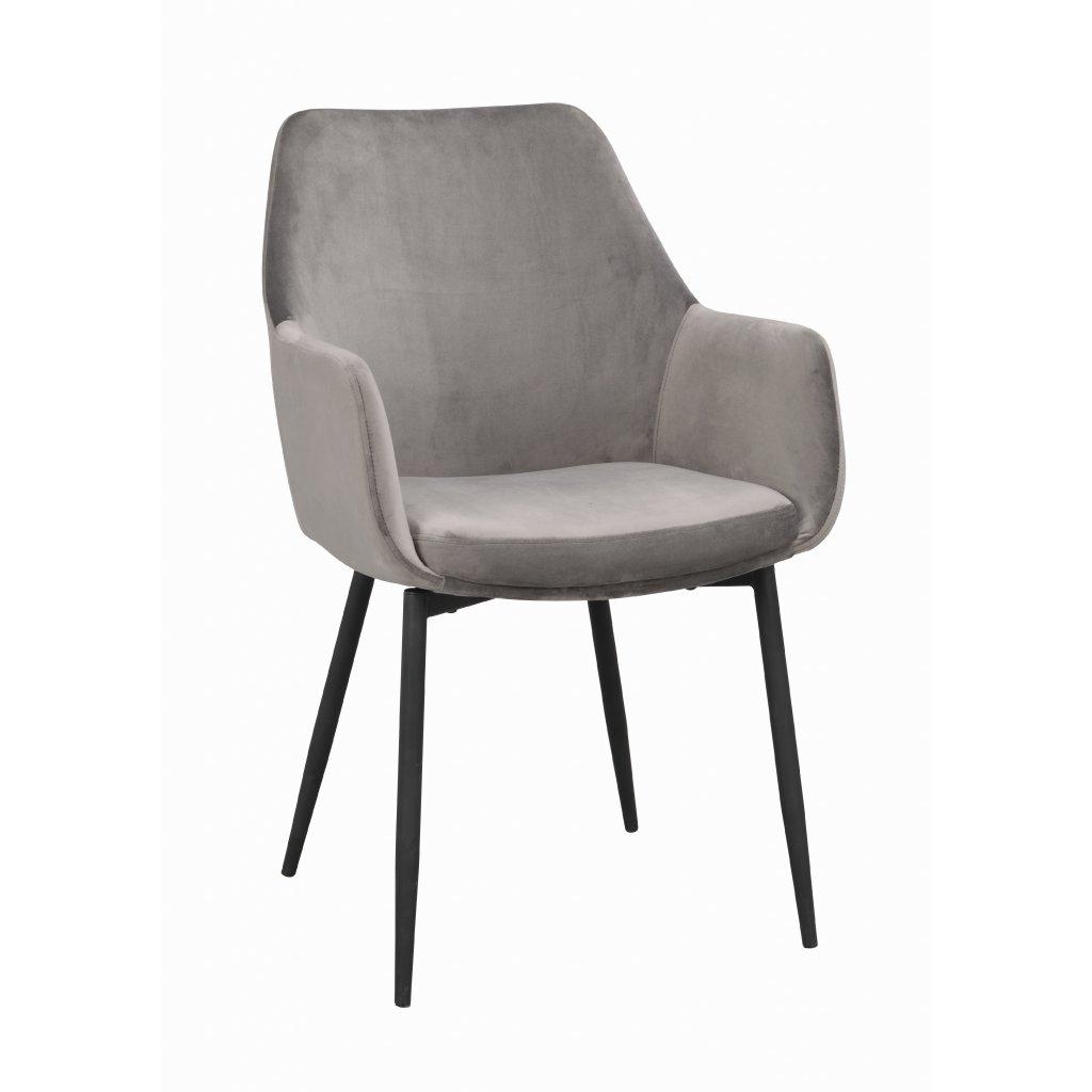 110456 b, Reily stol, grå sammet svart R