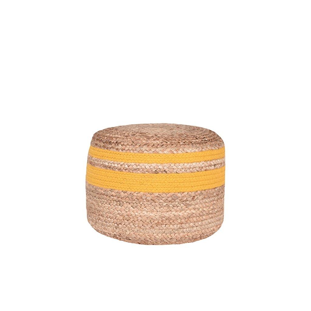 poef jute naturel jute geel katoen 50x50x35 cm voorkant 1
