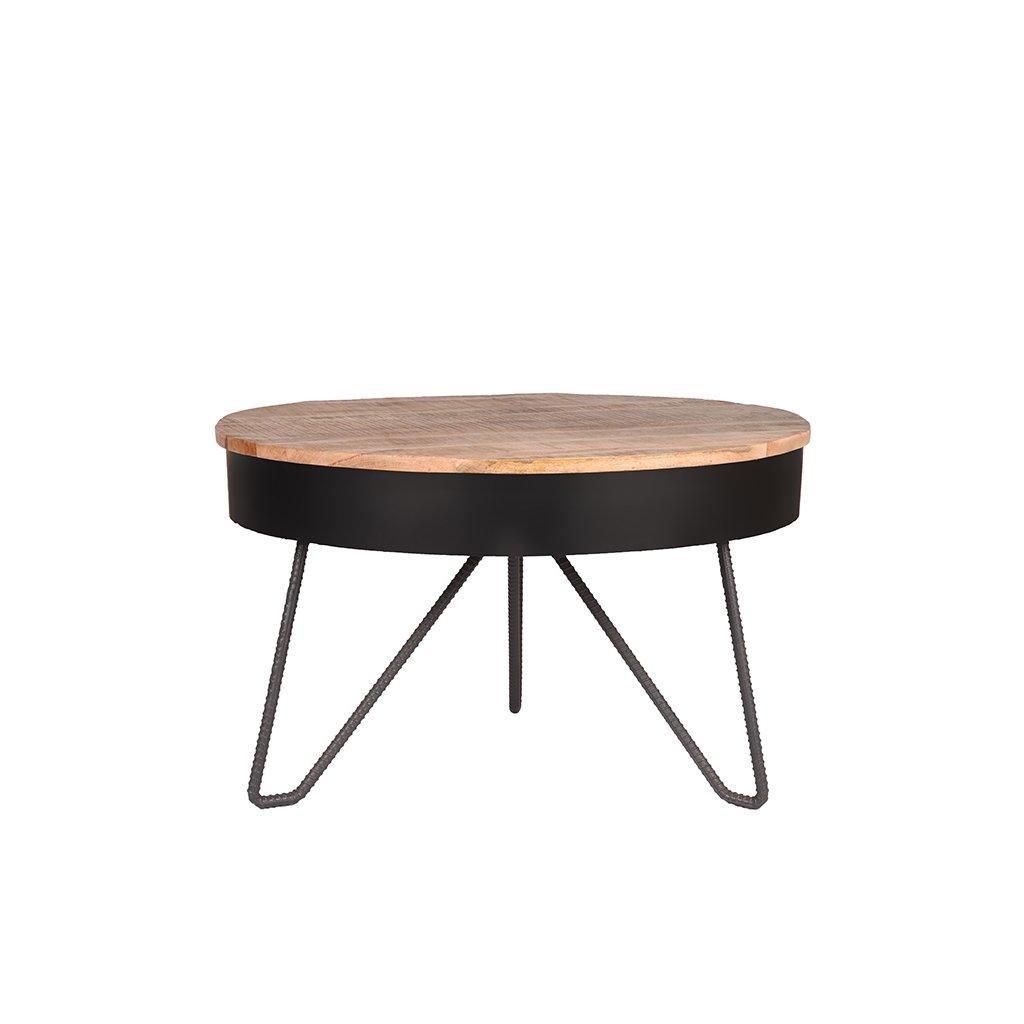 salontafel saria zwart metaal 80x80x49 cm voorkant