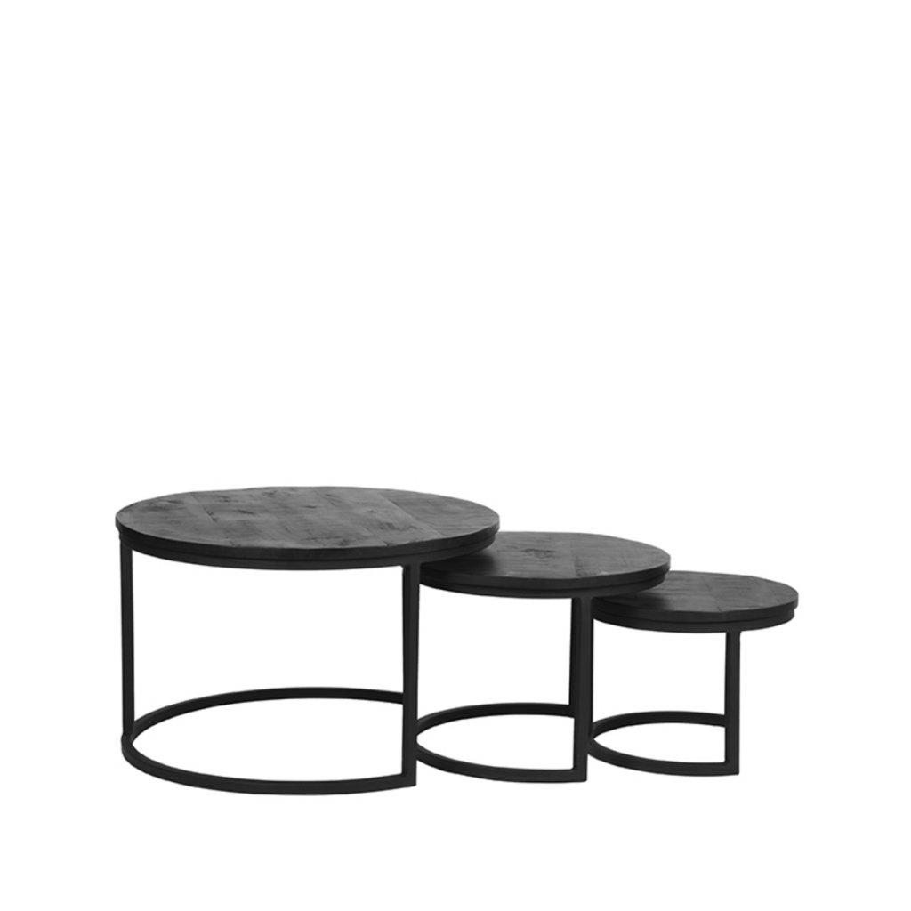 Salontafel Set Triplet Zwart Mangohout Zwart Metaal