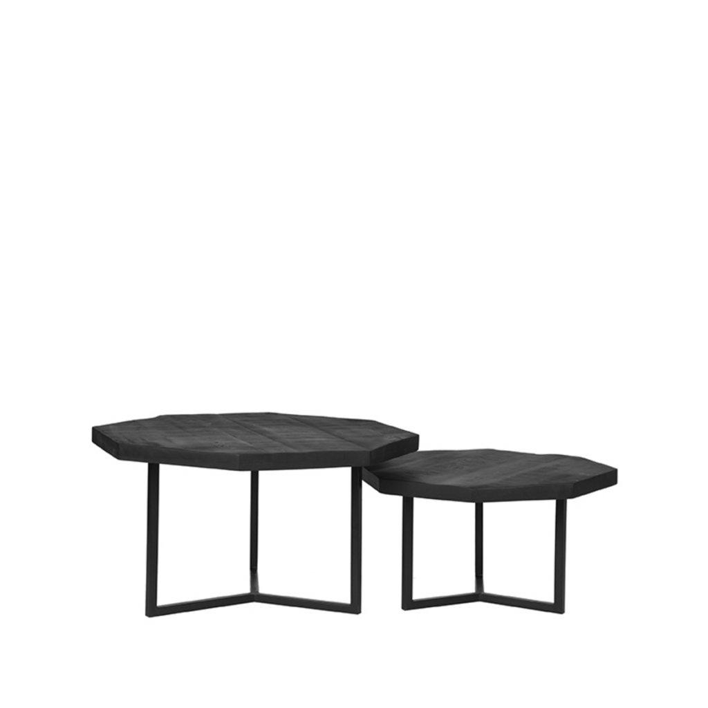 Salontafel Set Figure Zwart Mangohout 70x70x40 cm Voorkant