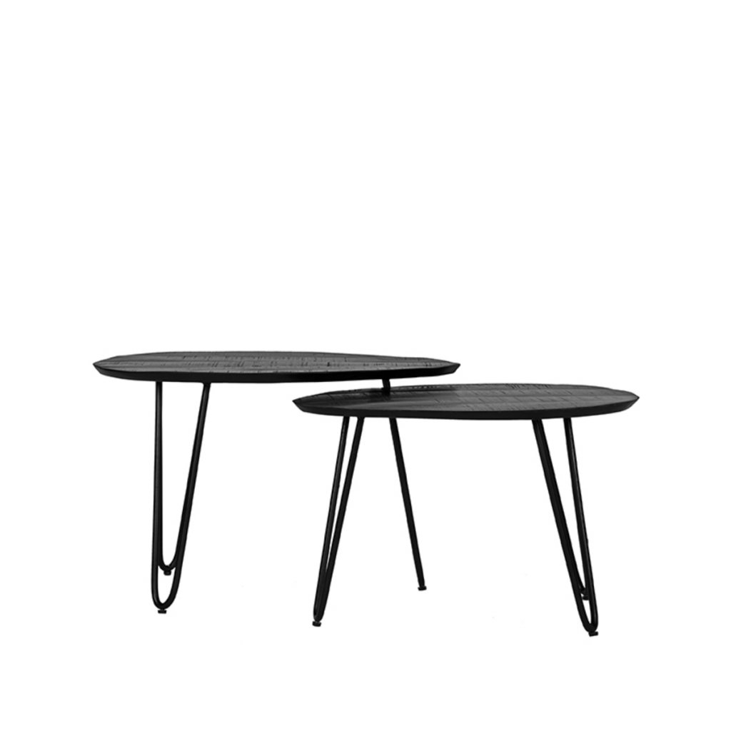 Salontafel Set Frisk Zwart Mangohout 68x43x44 cm Voorkant