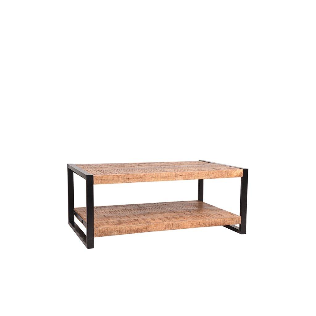 salontafel brussels rough mangohout zwart metaal 110x70x45 cm perspectief