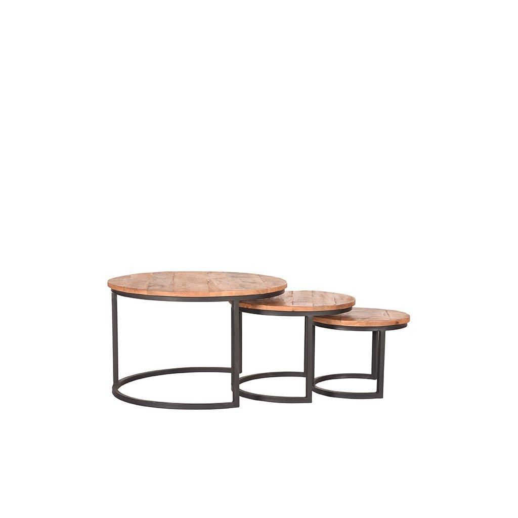 salontafel set triplet rough mangohout zwart metaal 70x70x44 cm voorkant