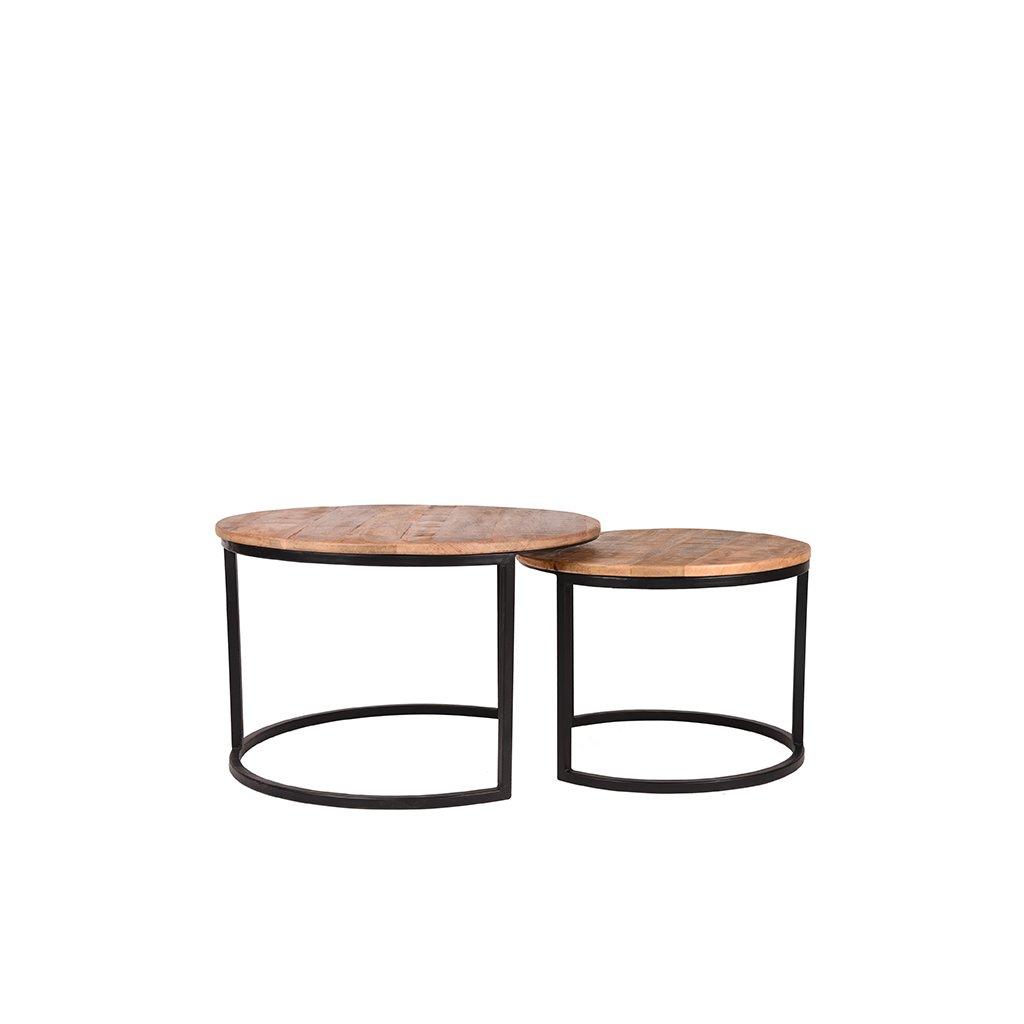 salontafel set double zwart metaal rough mangohout 70x70x45 50x50x40 5 cm voorkant 2 1