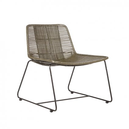 fauteuil rex army rotan zwart metaal 61x62x71 cm perspectief