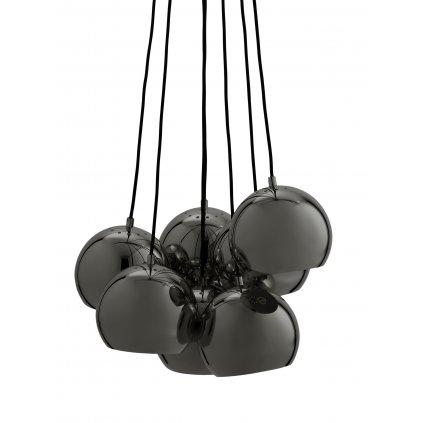 Ball Multi Chandelier glossy black chrome 1423