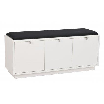 103763 b Confetti bench w 3drawers white black fabric