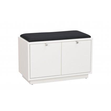 103755 b Confetti bench w 2drawers white black fabric