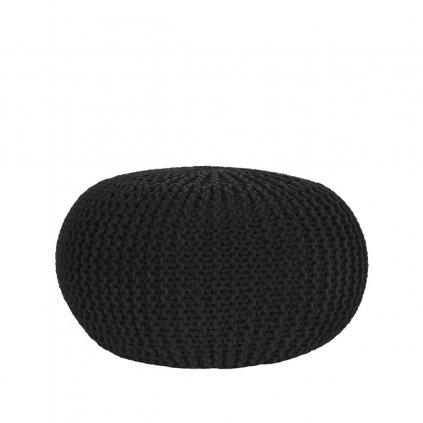Poef Gebreid L Zwart Katoen 70x70x35 cm Voorkant