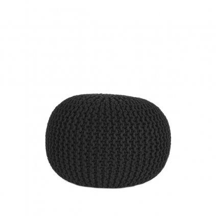 Poef Gebreid M Zwart Katoen 50x50x35 cm Voorkant 1