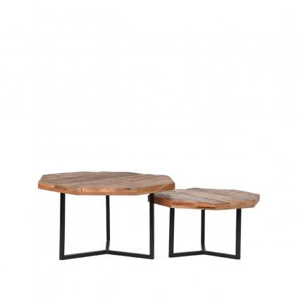 Salontafel Set Figure Rough Mangohout 70x70x40 cm Voorkant