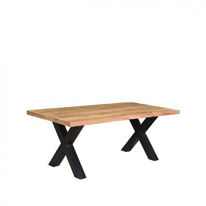 Eettafel Zino Rough Mangohout Zwart Metaal 200x100 cm