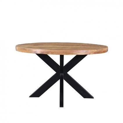 Eettafel Ziggy Rough Mangohout Zwart Metaal 130x130 cm