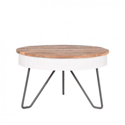 salontafel saria wit metaal 80x80x49 cm voorkant